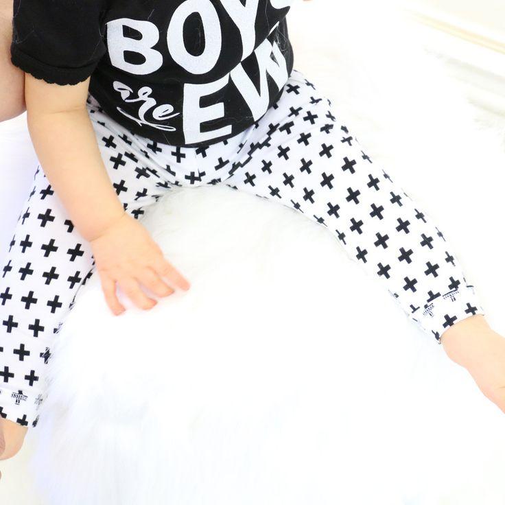 Black & White Cross Swiss Baby Leggings