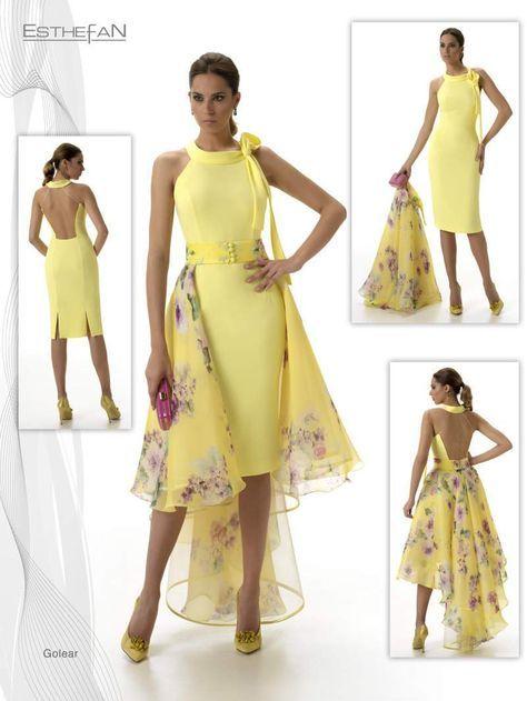 Modelo Golear de la colección. Vestido+ sobrefalda color amarillo confeccionado con creppe, organza