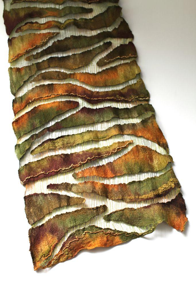 "Marina Shkolnik - nuno felt scarf - 50/50 mulberry silk / extra fine Australian merino wool, cotton gauze fabric. Length 83 1/2"" (212 cm) Width 16 1/2"" ( 42 сm) Weight 4,85 oz (136 gm)"