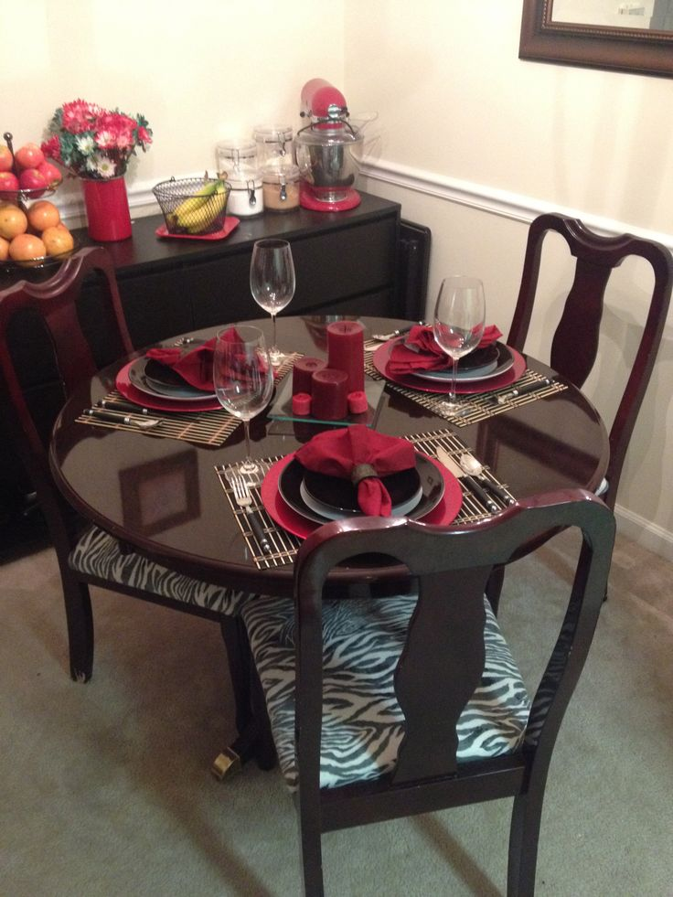 Dining Room Table Set Up With Refurbished And Recovered Chairs From Craigslist