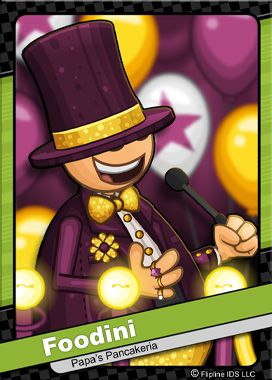 This is Foodini, the game show host in all of Papas restaurants! Papa Louie loved the added exposure from the game show, and worked with Foodini on a promotion for opening his new restaurant in Starlight City!