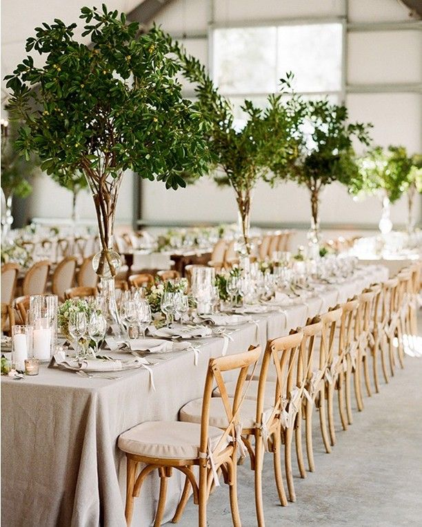 love these centerpieces! They look like miniature trees lining the banquet tables!