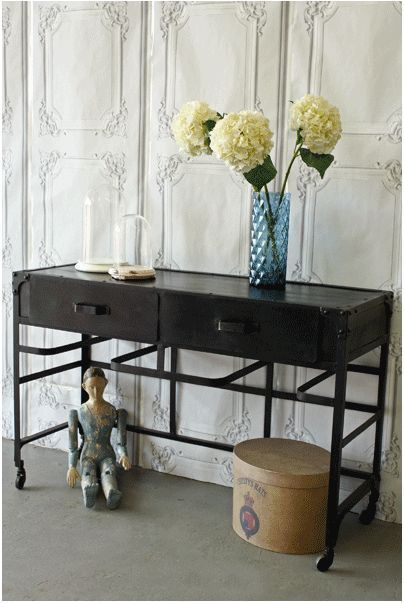 Black Vintage Style Industrial furniture Side Board: