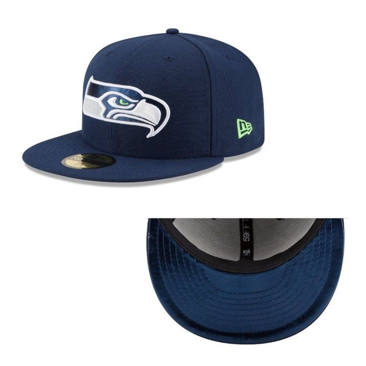 New Era 59Fifty NFL Seattle Seahawks Metal Fit Flat Bill Fitted Hat Navy #NewEra #SeattleSeahawks