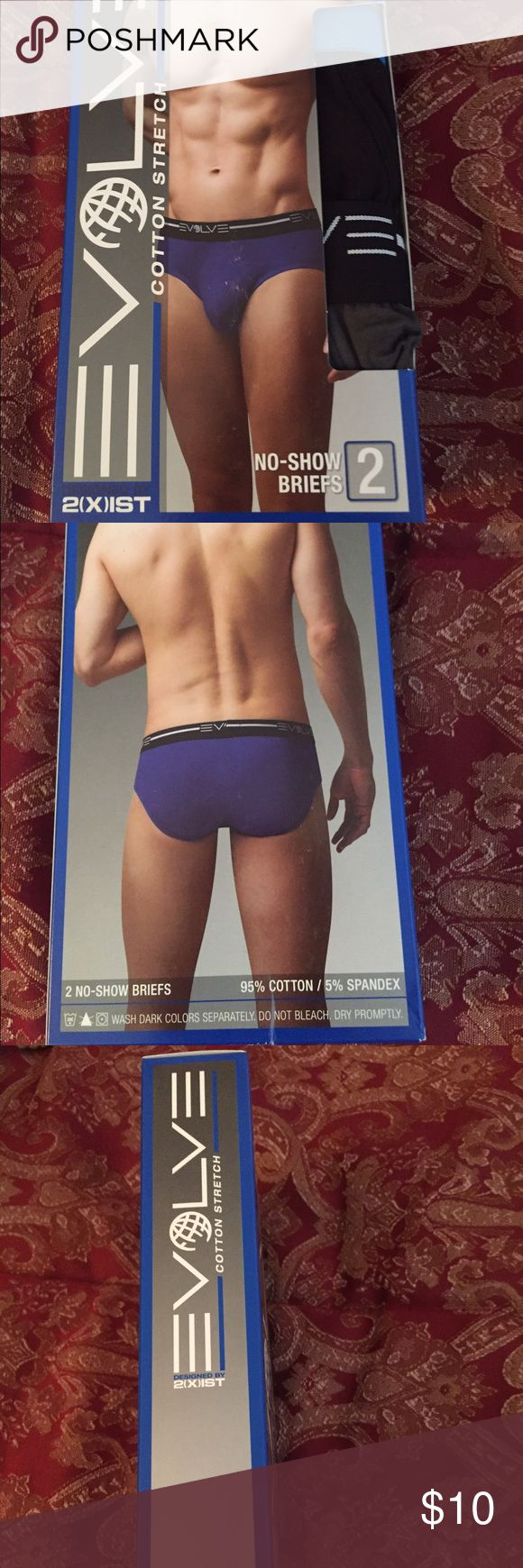Men's Evolve No Show Briefs Underwear 2 pk Men's Evolve by 2xist No Show Briefs Underwear 2 pk....95% Cotton and 5% spandex.....size large....colors are shown in the pictures...brand new....made in Bangladesh. 2xist Underwear & Socks Briefs