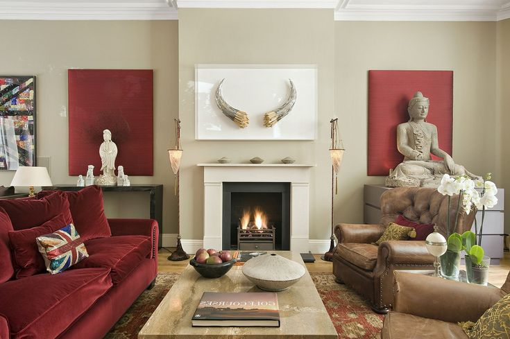 Briliant red sofa complted near coffee table for living for Red and cream living room ideas