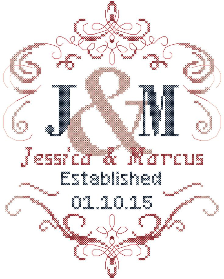 Modern wedding cross stitch pattern is designed on 14 count aida with a design size of approx. 7 x 9. Please supply names, date and color
