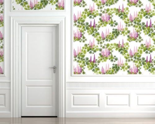 Pattern Margareta in pink shades as wallpaper.  www.formstigen2a.se/pattern