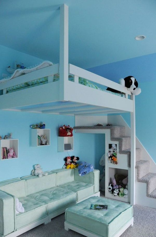 30+ Cool Loft Beds for Small Rooms Blue Hanging Loft Bed For Kids