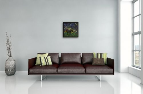 Gemälde Nr. 793 Heinrich läuft (2016) von Manuel Süess im Wohnzimmer   Pferde Malerei   Mehr: http://art-by-manuel.com/de/nr.-793-heinrich-lauft-2016/