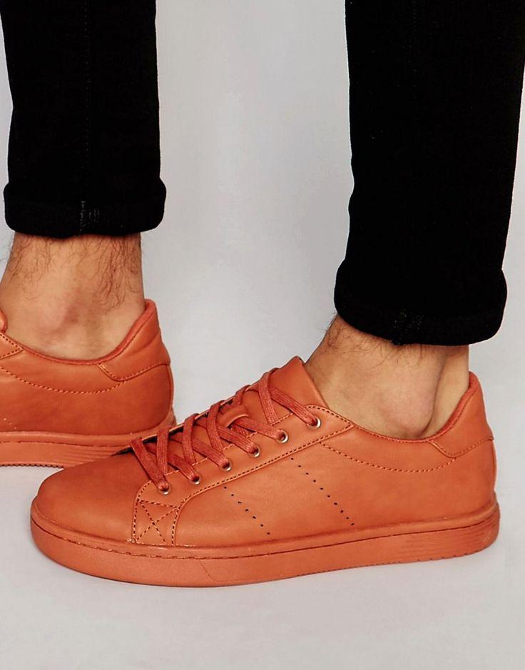 Immagine 1 di ASOS - Scarpe da ginnastica a pannelli arancioni