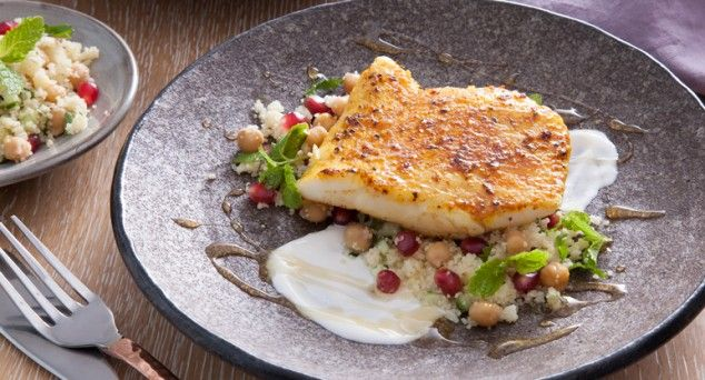 The delicious flavours in this Hoki with Spiced Couscous dish fly off the plate!  #dinner #pescetarian #fish