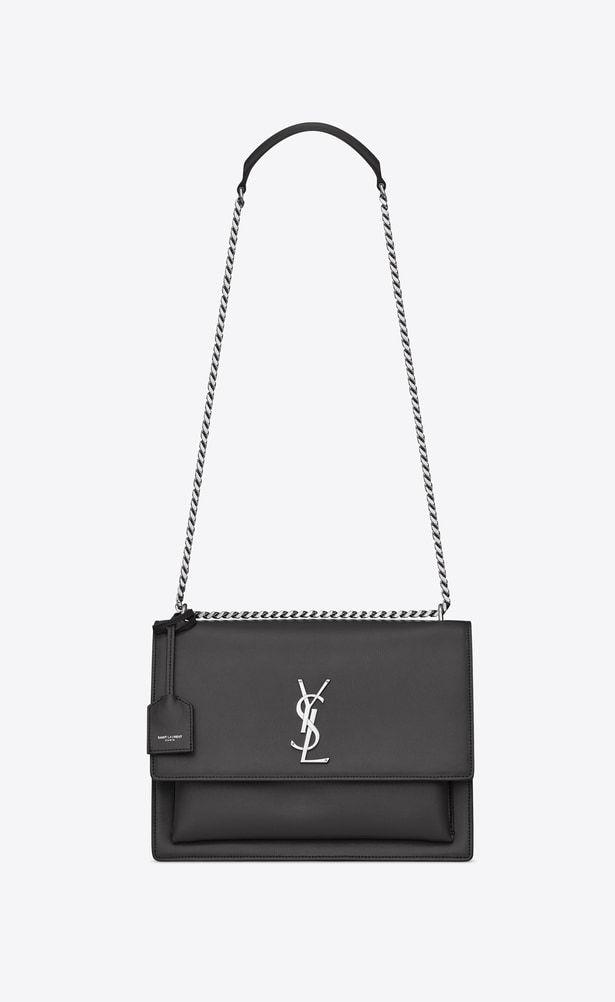 Saint Laurent Medium Sunset Bag In Asphalt Gray