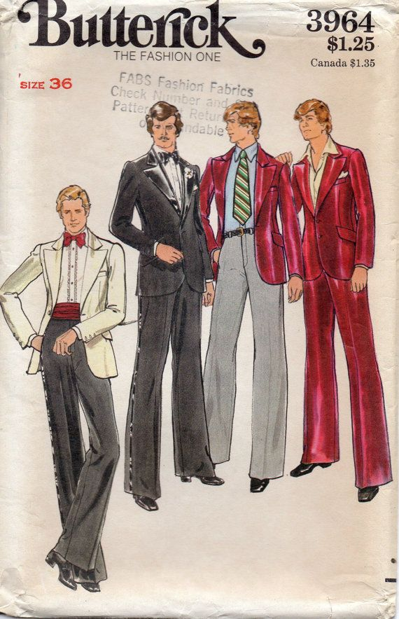 Butterick 3964 1970s Mens Jacket and Pants Pattern for Proms, Weddings, Special Occasions Mens vintage Sewing Pattern by mbchills