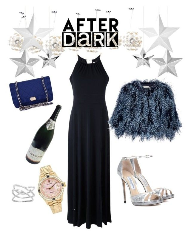 """After Dark"" by egaemgyu on Polyvore featuring Safavieh, MICHAEL Michael Kors, Jimmy Choo, Chanel, Mary Katrantzou, Rolex and afterdark"