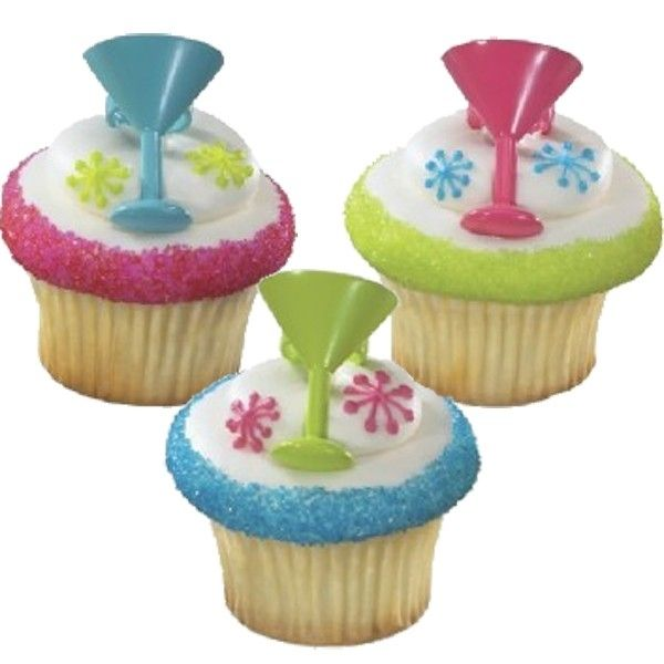 030120 Cocktail Glas Cupcake Topper Ringen 6/Pk