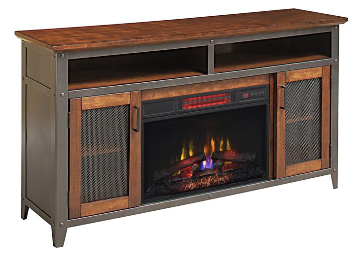 Landis Infrared Electric Fireplace Entertainment Center in Old World Brown - 26MM4964-C296