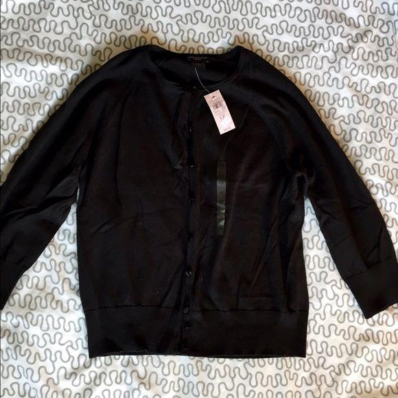 Ann Taylor petite L cardigan. NWT. Ann Taylor petite black cardigan. Size L. New with tags. Crew neck. Ann Taylor Sweaters Cardigans