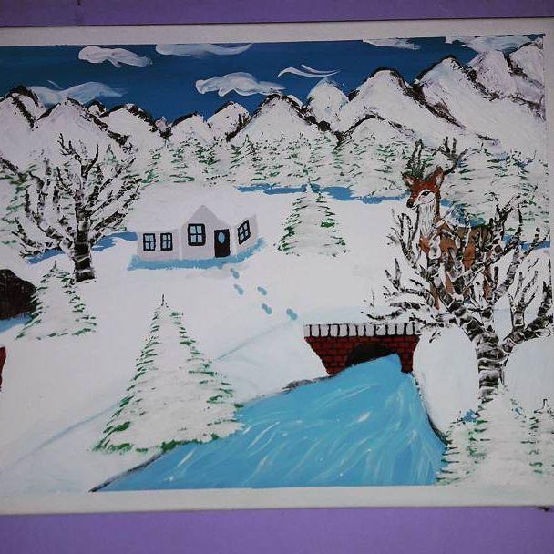 #pain #painting #malba #picture #pictures #art #country #krajina #krajinka #river #rivers #rieka #les #rozpravka #animals #dom #hause #three #strom #liska #zima #winters #winter #obloha #milujemmaľovanie #fantázia #fantasy #painted  #_painted_art_