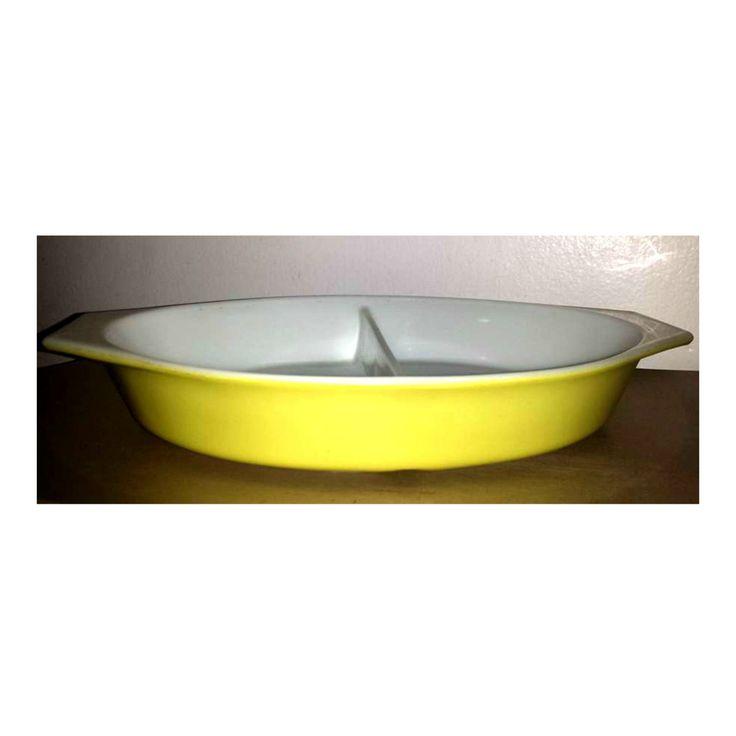 Yellow Pyrex Divided Casserole Dish,1.5 Quart,Pyrex Casserole Dish,Pyrex…