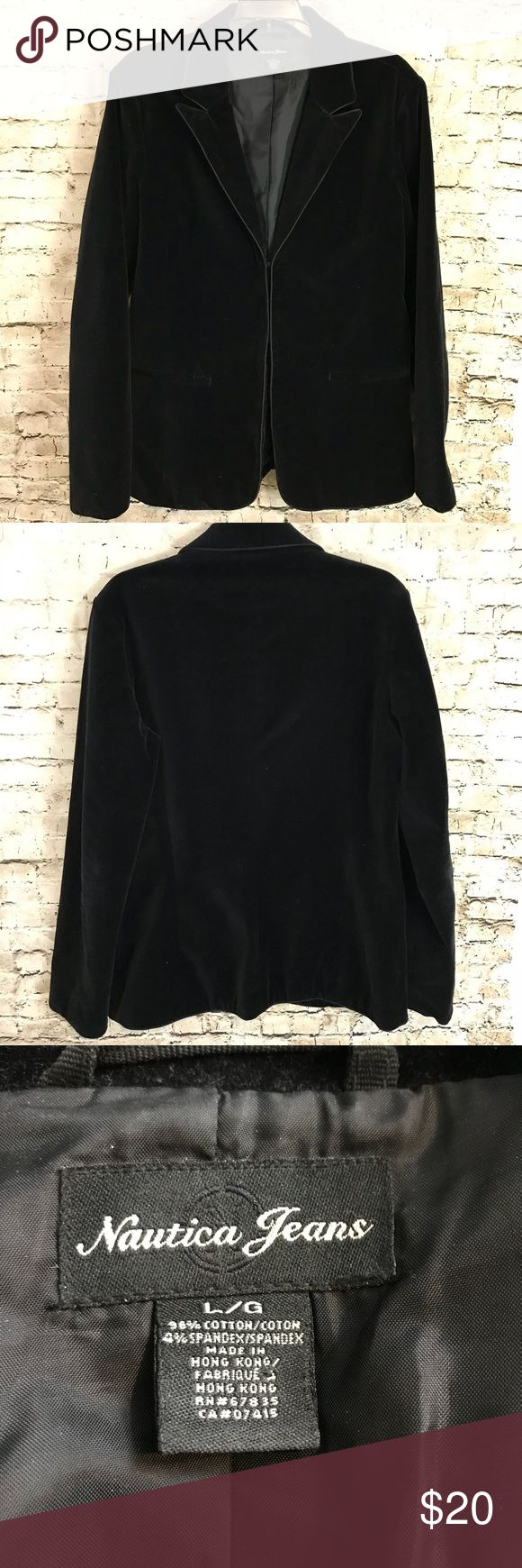 Women's Nautica Jeans Large Black Velvet Jacket You will be purchasing a Women's Nautica Jeans Black Velvet Blazer Jacket Size Large - see photos for measurements to determine fit. It is used. If you have any further questions, please do not hesitate to ask. Thanks for Looking! Sku# EPM Nautica Jeans Jackets & Coats Blazers