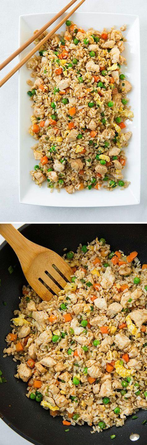 Meine Variante: Huhn, Zuckerschoten, Erbsen, Mais, Sojasprossen, Bambusstreifen, Reis, Eier gewürzt mit Chinagewürz, Sojasoße, Sesamöl