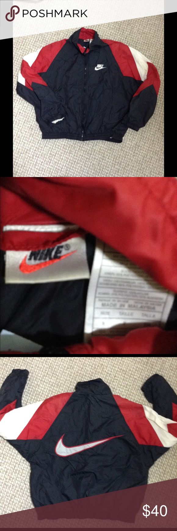 Vintage Nike windbreaker This is a rare vintage red nike check tag windbreaker. It dates back to the Jordan era... It is a extra awesome color way with the red black and white normal flaws for its age, amazing jacket men's small will look great on a medium women Nike Jackets & Coats Windbreakers