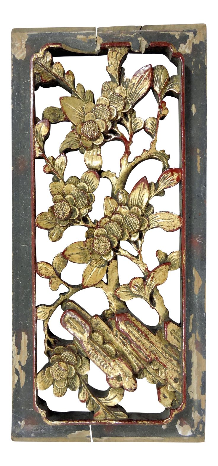 """Antique Wood Paneling: Antique Chinese Gold """"Cherry Blossom"""" Wood Wall Panel"""