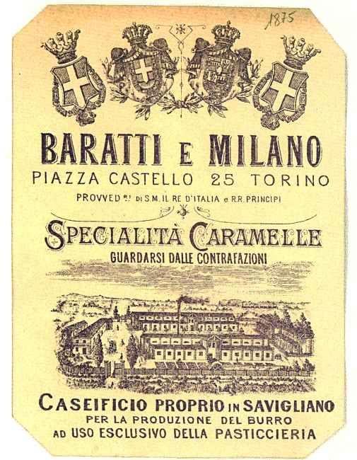 pubblicità Baratti e Milano - prodotti alimentari delle industrie piemontesi - 1900-1950