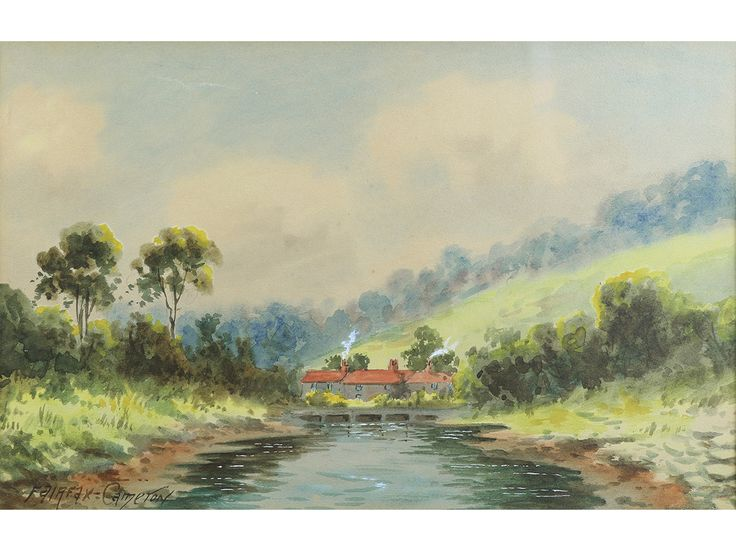 'Sandsend, Nr Whitby, Yorkshire' by Fairfax Cameron. Original watercolour, signed & framed.