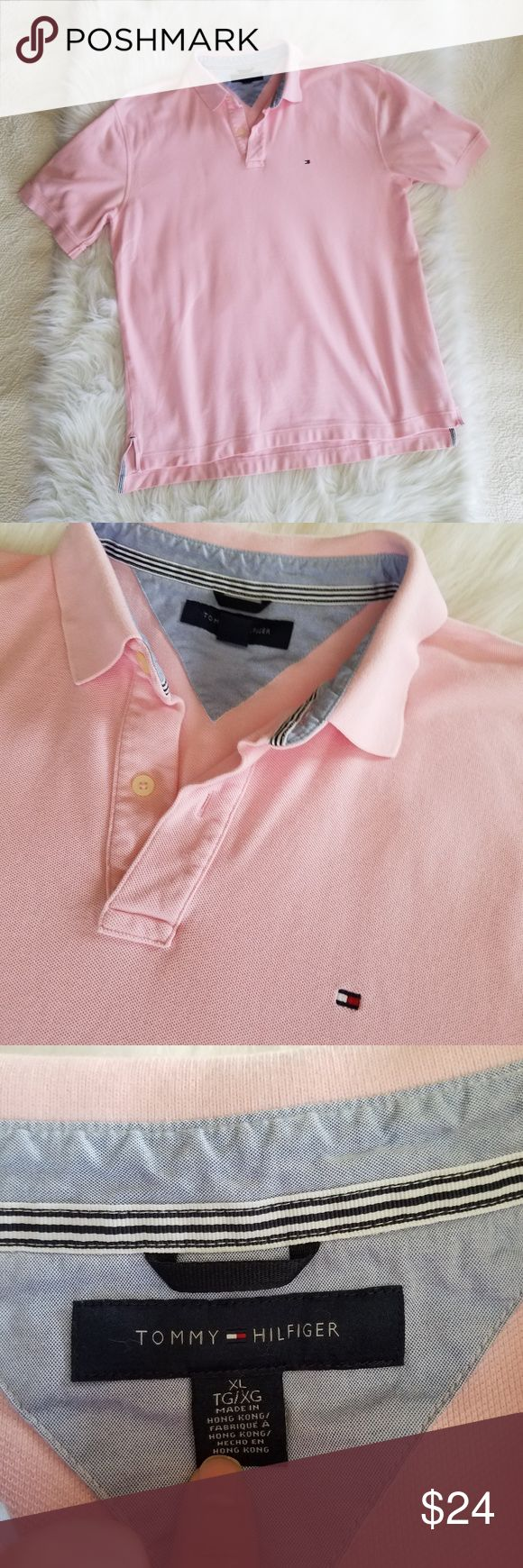 Tommy Hilfiger Pink Polo Shirt Crisp pink polo shirt by Tommy Hilfiger Excellent Used Condition Measurements in Photos Tommy Hilfiger Shirts Polos