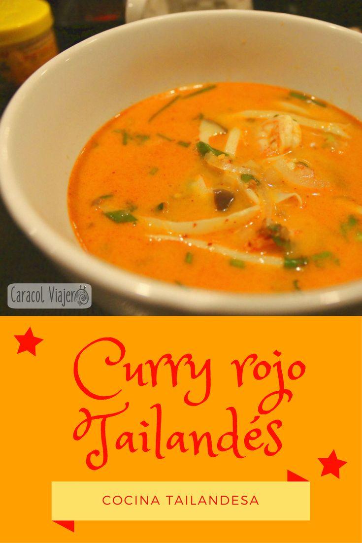 Curry/curri rojo al estilo tailandés, picante. Puede ser de pollo, gambas, tofu... a tu elección.  #curry #pollo