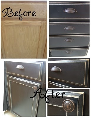 Painted, distressed cabinets #clever