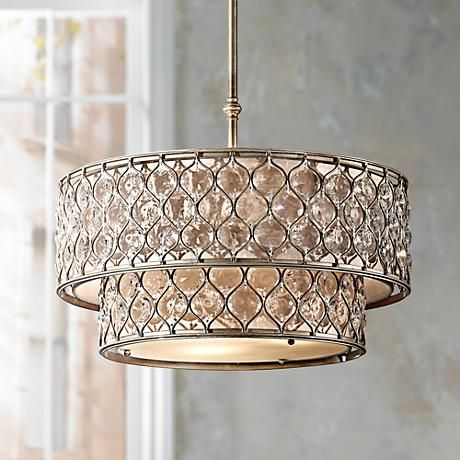 "Feiss Lucia 24 1/2"" W Burnished Silver Pendant Light... from LampsPlus... has matching ceiling mount and pendent lights..."