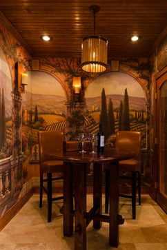 Italian Inspired - Tuscan-Style wine tasting room, murals of Italian landscape with archways makes you feel like your in the Italian countryside.