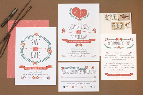 Sleek, mid-century-inspired illustration and typography, with a bit of whimsy added, in these new wedding invitations by Love vs. Design.