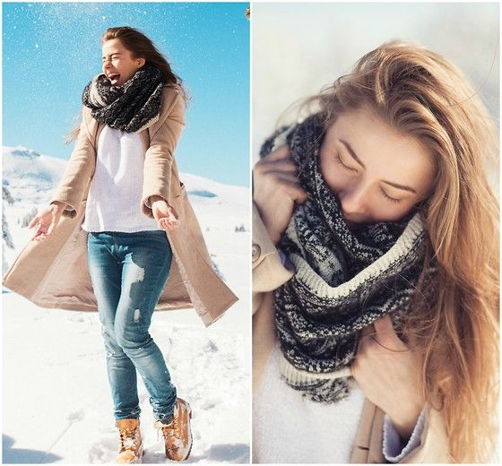 Mango Coat, Timberland Boots, Zara Sweaters, H&M Scarves