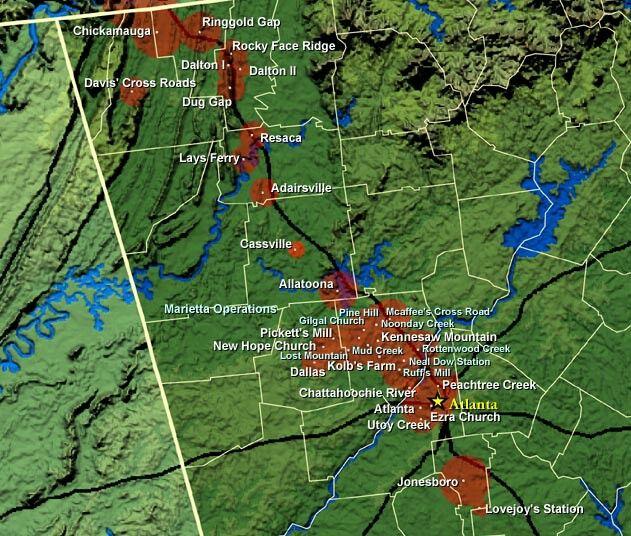 Civil War Battles Of North Georgia Civil War Maps American Civil