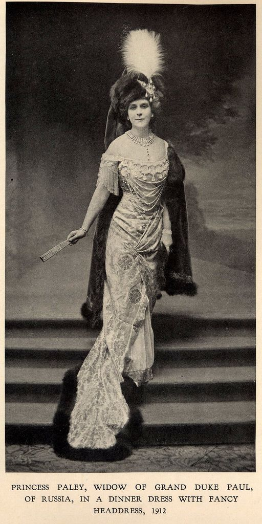 Princess Paley (Olga Valerianova) - 1912 - in House of Worth gown - @~ Watsonette  Both her husband and son were murdered in the course of the Russian revolution.  Her son Vladimir died with Grand Duchess Ella.