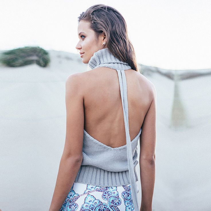 Sleeveless High Backless Knit Pullover Sexy Sweater