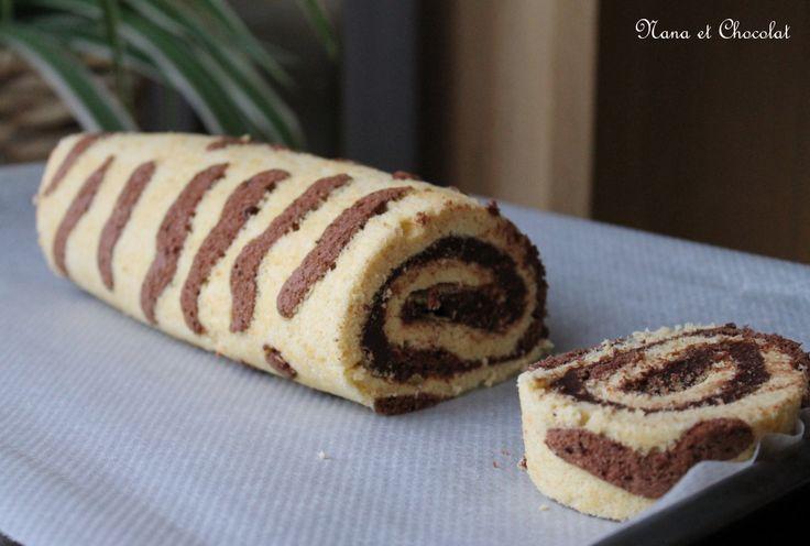 gâteau roulé imprimé girafe, à la ganache au chocolat
