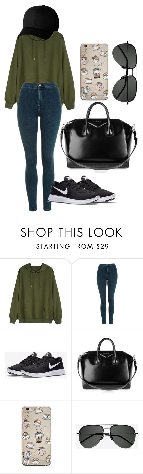 """sporty"" by wiktoria-duszynska ❤ liked on Polyvore featuring Topshop, NIKE, Givenchy, Yves Saint Laurent and Flexfit"