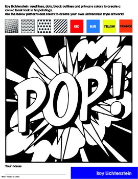 1363 best worksheets printables images on pinterest for Roy lichtenstein coloring pages