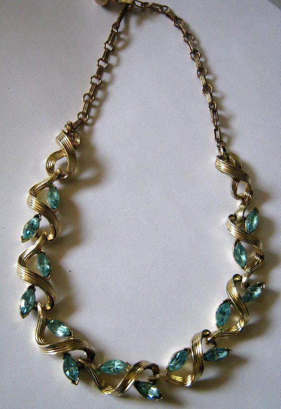 Vintage Blue Rhinestone Wave Gold Tone Choker Necklace by 2MoonswithCharm on Etsy
