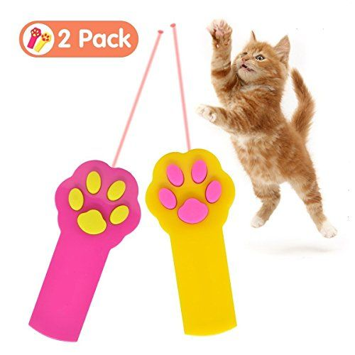 Ilyever 2 Pack Paw Style Dog Cat Catch the Interactive LED Light Pointer Red Pot Exercise Chaser Toy Pet Scratching Training ToolYellowPink