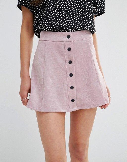 Glamorous Petite | Glamorous Petite Button Up Cord A Line Skirt
