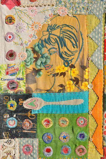 maria thomas: found & reclaimed mixed media textiles: quilts