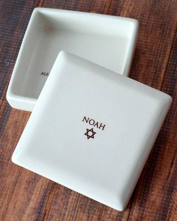 Personalized Bar Mitzvah Gift or Bat Mitzvah Gift, Jewish GIft, Star of David Gift - Square Keepsake Box - With Gift Box by Susabella
