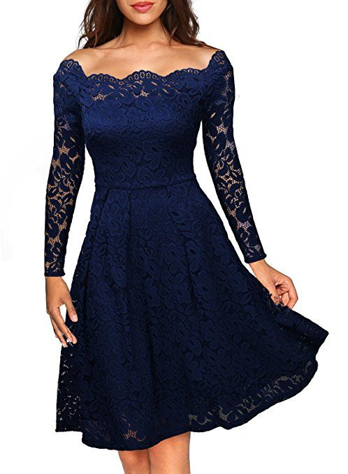MissMay Women's Vintage Floral Lace Long Sleeve Boat Neck Cocktail Formal Swing Dress Navy Blue Small