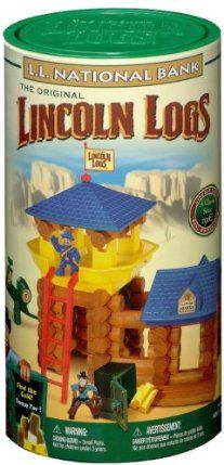 "Lincoln Logs National Bank-81 pcs by K'NEX. $57.95. Real wood logs plus colorful figures and accessories.. A family classic since 1916.. Build a Frontier Fort and Bank!. From the Manufacturer                Lincoln Logs National Bank                                    Product Description                Rediscover The Wild West with Lincoln Logs. Build a frontier fort and bank, then climb the ladder to the rooftop and stand guard to protect your precious supply of ""gold."" Includes..."